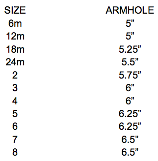 Pillowcase Dress Armhole size chart | Sew Like My Mom